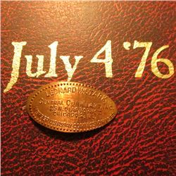 """Bicentennial of the Day of Freedom July 4 '76"", Album with Stamped cover and elongated Cent ""Leonar"