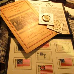 """Historical Flags"" Commemorative set in vinyl holder; ""Fort Dodge High School Foot Ball Season 1926"""