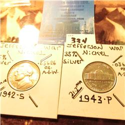 1942 S & 43 P BU 35% Silver World War II Jefferson Nickels.