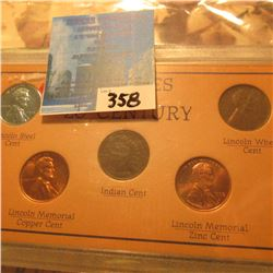 """Pennies of the 20th Century"" 5-piece Set. Includes a 1907 Indian Cent."