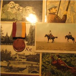"(6) Old West Post Cards & a ""Sociedad Numismatica De Mexico"" Medal with Ribbon."