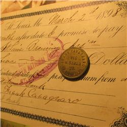 "March 2, 1898 St. Louis, MO. Promissory note ""St. Louis Brewing Ass'n"" signed by Frank Cavagnaro wit"
