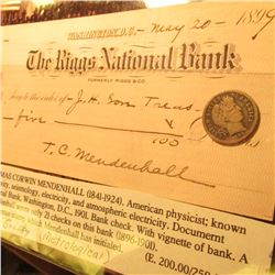 "1899 New Orleans Barber Dime & 1899 Check from ""The Riggs National Bank"" Washington, D.C. signed by"