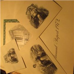 """American Bank note Company Annual Report 1972"" & (3) Carded Vignettes of Industry Seated Woman."