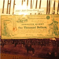 "Swindlerville Avenue, Washington City, July 24th, 1880 Anti Green Back ""Absolute Money for the Sum o"