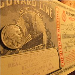 "1925 D Buffalo Nickel, VG & a Dec. 5, 1925 ""Cunard Line Steamship Ticket"" Signed."