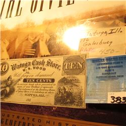 "1860 era ""Watuga Cash Store, W.S. Wood Ten Cents"" Scrip, Liberty left, Farmer with team of horses ri"