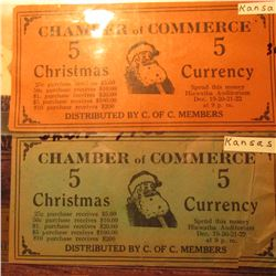 "Kansas Depression Scrip ""Chamber of Commerce…Distributed by C. of C. Members"" ""5 Christmas Currency"""