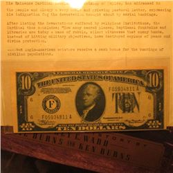 "Propaganda Series 1934 $10 Federal Reserve note issued by ""His Eminence Cardinal Ascalesi, Archbisho"
