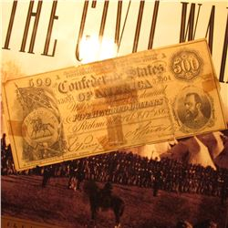 "Feb. 17th, 1864 Contemporary Counterfeit ""Confederate States of America"" Five Hundred Dollars Bank n"