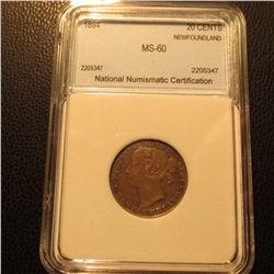 1894 Silver 20C Newfoundland NNC MS60 BU #2205347 Original Tone Catalogs $1200 in MS60