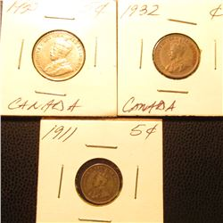 1911 Canada Five Cent Silver, 1932 Cent & 1935 Nickel Canada {3Pcs}