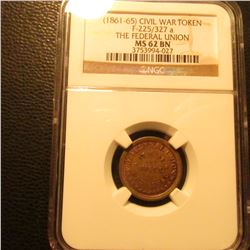 "1861-65 Civil War Token ""The Federal Union"" Attractive Tone NGC 62BN #3753994-027"