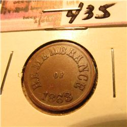 "1863 Civil War Token ""Remembrance of 1863/Not 1 Cent"" CH.AU"