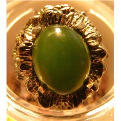 .925 Sterling Silver Jade Cabochon Ring