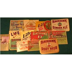 (13) Different Beer & Pop Labels dating back to 1940's.