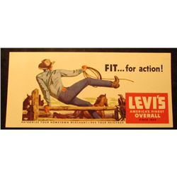 "1940 Era cardboard Advertising card ""Levi's America's Finest Overall Since 1880"". 6 1/4"" x 3 7/8""."
