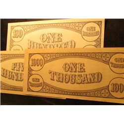 (3 pcs.) College Scrip Type 2. $100, $500, & $1000 Bank notes.
