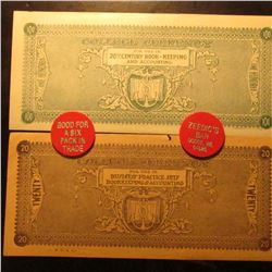 "$20 & $100 ""College Currency/For Use In/20th Century Book-Keeping/and Accounting"" College Scrip & (2"