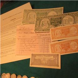 College Lesson and Invoice with Scrip for W.H. Goodwin early 1900's, 5 pcs. Of an Unlisted Type.