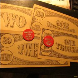 "$2, $5, $20, $100 & $1000 College Currency & (2) Red plastic Tokens ""Zeedic's/Bar/Dodge, Wi./54625"","