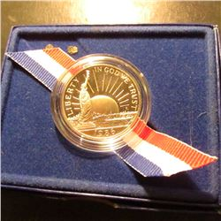 1986 S Statue of Liberty Proof Commemorative Half-Dollar in original box of issue.