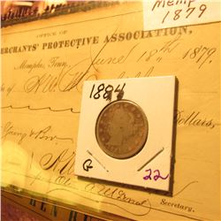"1884 Liberty Nickel Good condition & 1879 Promissory Note ""Memphis Tenn. Merchants' Protective Assoc"