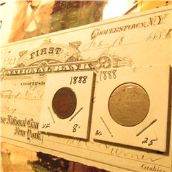 "Feb. 18th, 1888 Check drawn on ""The First National Bank of Cooperstown, N.Y."" & 1888 Indian Cent F-V"