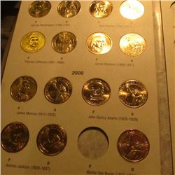 "H.E. Harris & Co. Coin folder containing (19) BU Presidential Dollar ""Golden"" Dollars. Includes Geor"