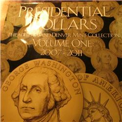 "H.E. Harris & Co. Coin folder containing (14) BU Presidential Dollar ""Golden"" Dollars. Includes Geor"