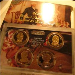 2008 S U.S. Four-piece Presidential Dollar Proof Set. Original as issued.