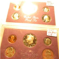 (2) 1987 S U.S. Proof Sets in original plastic as issued, no boxes. Some minor toning.
