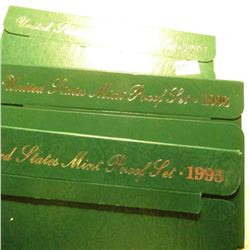 1995 S, 96 S & 97 S U.S. Proof Sets in original cases as issued. Some minor toning.
