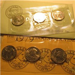 (2) 1979 P, D, & S Susan B. Anthony Dollar Souvenir Sets in original plastic and envelopes as issued