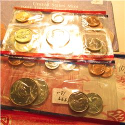 1991 U.S. Mint Set & 1999 U.S. Mint Set without the Quarters. All in original cellophane and envelop