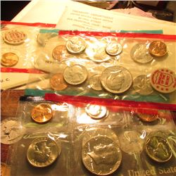 1971 Red Pack; 1971 Red & Blue Pack U.S. Mints; & 1985 U.S. Mint Sets. All in original cellophane an
