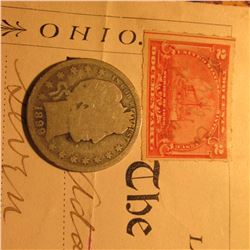 "July 10th, 1899 Check drawn on ""The Louisville Deposit Bank"", Louisville, Ohio & 1899 P Barber Silve"