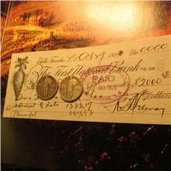 "Oct. 29, 1925 Belle Fourche, S.D. ""The First National Bank"" drawn check for $2,000.00 cancelled paid"