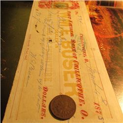 "March 4, 1875 ""First National Bank of Chillicothe, Ohio"" cancelled check with an early Two Cent Geor"