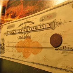 "Nov. 18th, 1874 ""State of Illinois Peoples National Bank Rock Island"" cancelled check and an 1874 In"