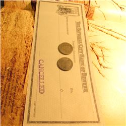 """1888 & 1889 Liberty Nickels AG-G & """"The National City Bank of Denver/Denver, Colorado"""" Blank and can"""