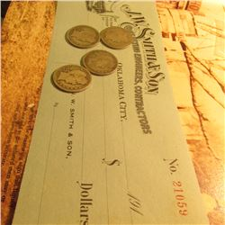 """""""J.W. Smith & Son Consulting Engineers, Contractors Oklahoma City"""" 191_ era Blank Check;  1907 & 08"""