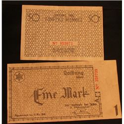 "(2) Pieces of Counterfeit ""Nazi-Jewish Concentration Camp"" Currency."