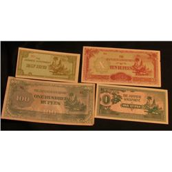 "World War II Japanese Bank Notes used in the Philippines. ""The Japanese Government Half Rupee, One R"