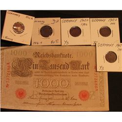 Berlin April 21, 1910 One Thousand Mark German Bank Note; 1907e, 1908d, 09d, 11a, & 16f One Pfennig