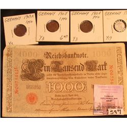 Berlin April 21, 1910 One Thousand Mark German Bank Note; 1909A, 11E, & 11J EF; & 1917A One Pfennig