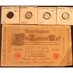 Berlin April 21, 1910 One Thousand Mark German Bank Note; 1917A, E, & G One Pfennig EF; & 1909A One