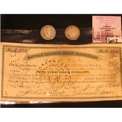"Dec. 11, 1912 ""Buffalo(N.Y.) Clearing House Association"" Five Thousand Dollar in GOLD Coin Note on t"