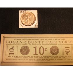 "Depression Scrip: ""Logan County Fair Scrip 10c August 21-22-23, 1935"", Sterling, Co. Near Crisp Unc;"