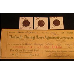 "(2) 1935 D & (1) 35 S VF-EF Lincoln Cents; & 12/5/1935 ""The Credit Clearing House Adjustment Corpora"